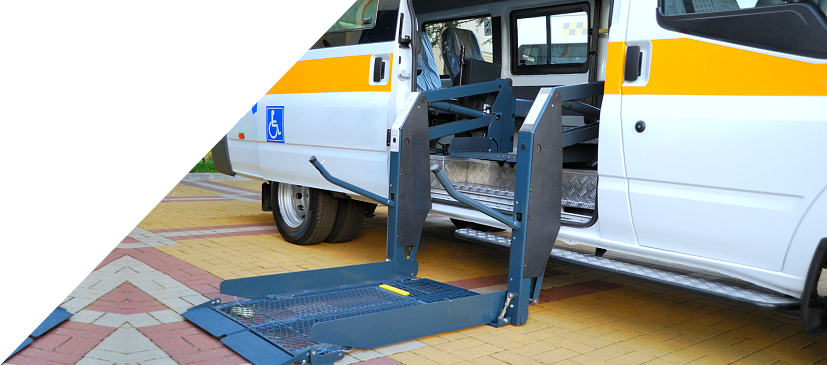 medical transportation vehicle with ramp