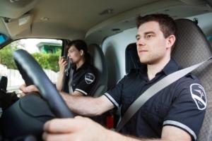 paramedic driving a white van